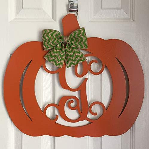 Monogrammed Pumpkin Door Hanger