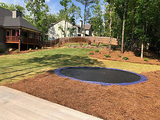 Tramploines built into the ground gives an easy access to tramploines and provides easier viewing of your yard
