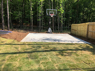 Concrete poured basketball pad