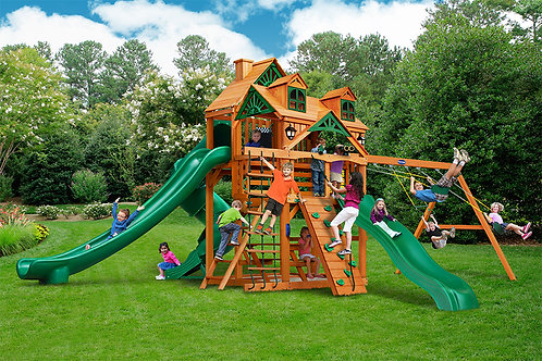 Grand Summit II w/ Riviera Wood Roof Swing Set