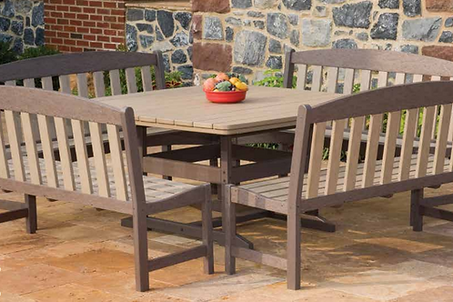 58x58 Dining Table w Skyline Garden Benches