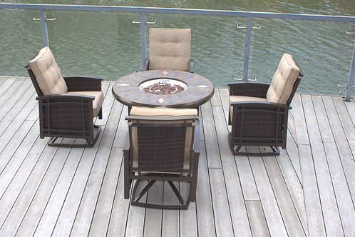 "42"" Natural Slate and Copper Top Outdoor Round Propane Fire Pit Table"