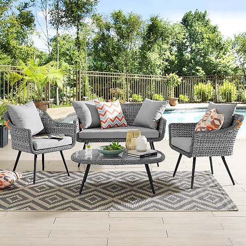 Endeavor 4 Piece Outdoor Patio Wicker Rattan Loveseat Armchair and Coffee Table