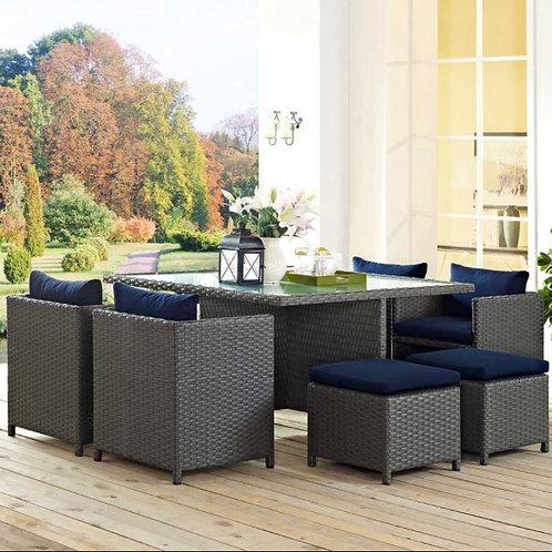 Sojourn 9 Piece Outdoor Patio Sunbrella® Dining Set