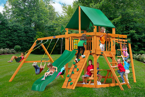 Horizon W/ Monkey Bars, Tire Swing & Deluxe Green Vinyl Canopy