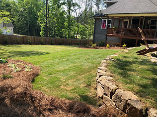 Sod Installation and Retaining Wall