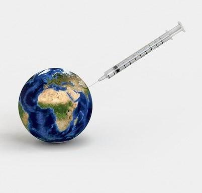 COVID vaccine globe