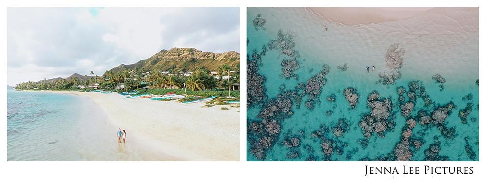 Drone engagement photos of Kailua beach