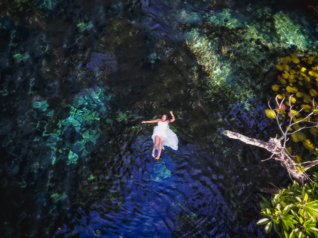 Drone Wedding Photography Mexico Cenotes