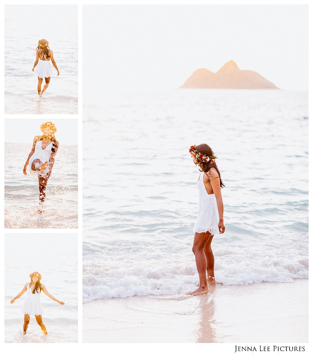 A beautiful girl plays in the ocean in hawaii during her engagement session