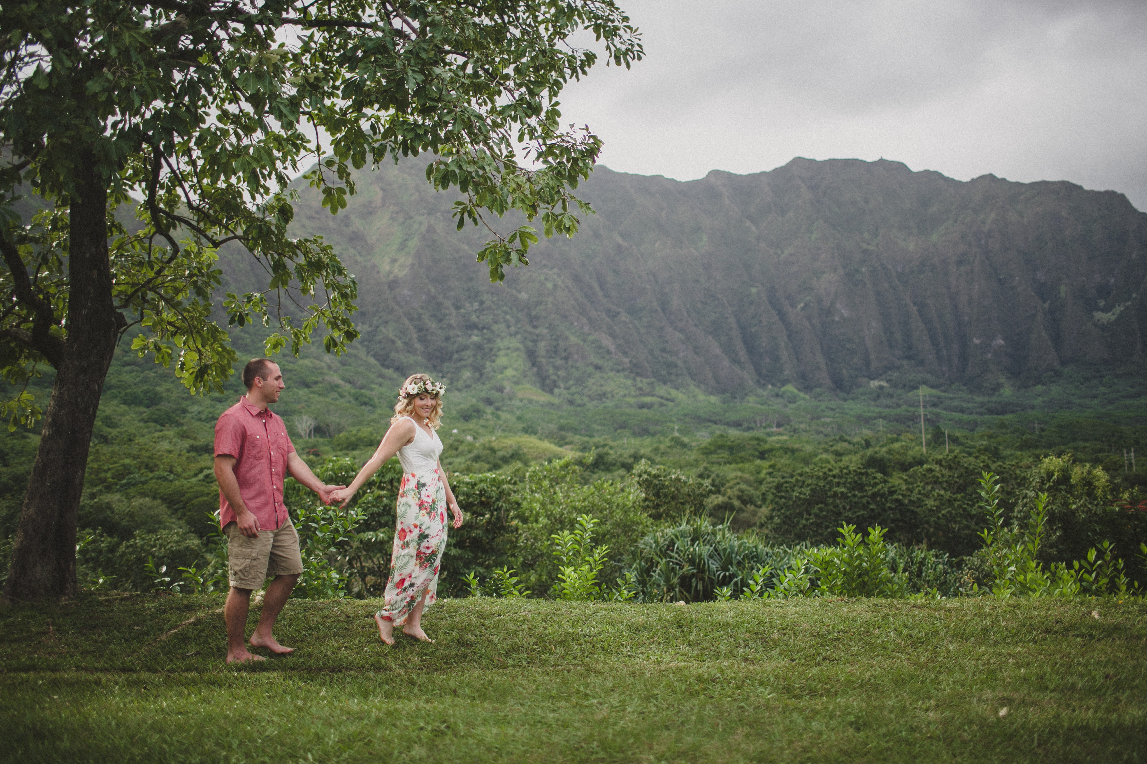 Hoomaluhia Botanical Garden Hawaii Engagement Adventure Session