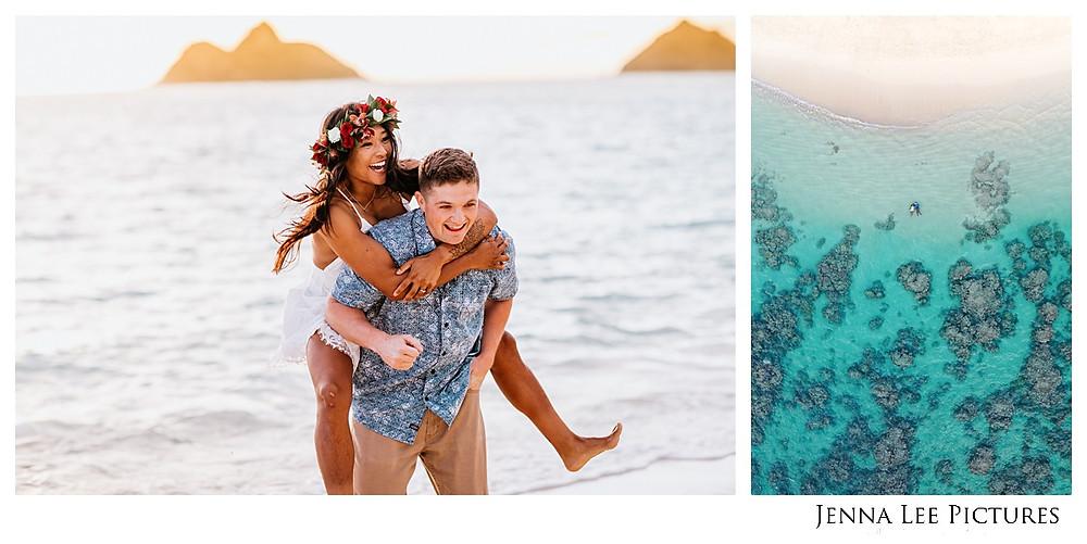 Couple plays on the beach
