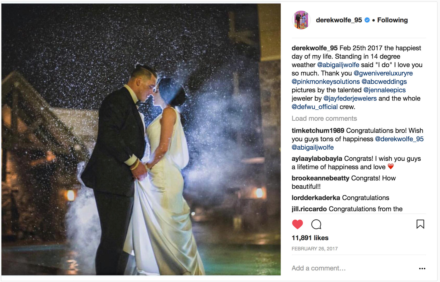 Derek Wolfe of the Denver Broncos marries the gorgeous Abigail Burrows...