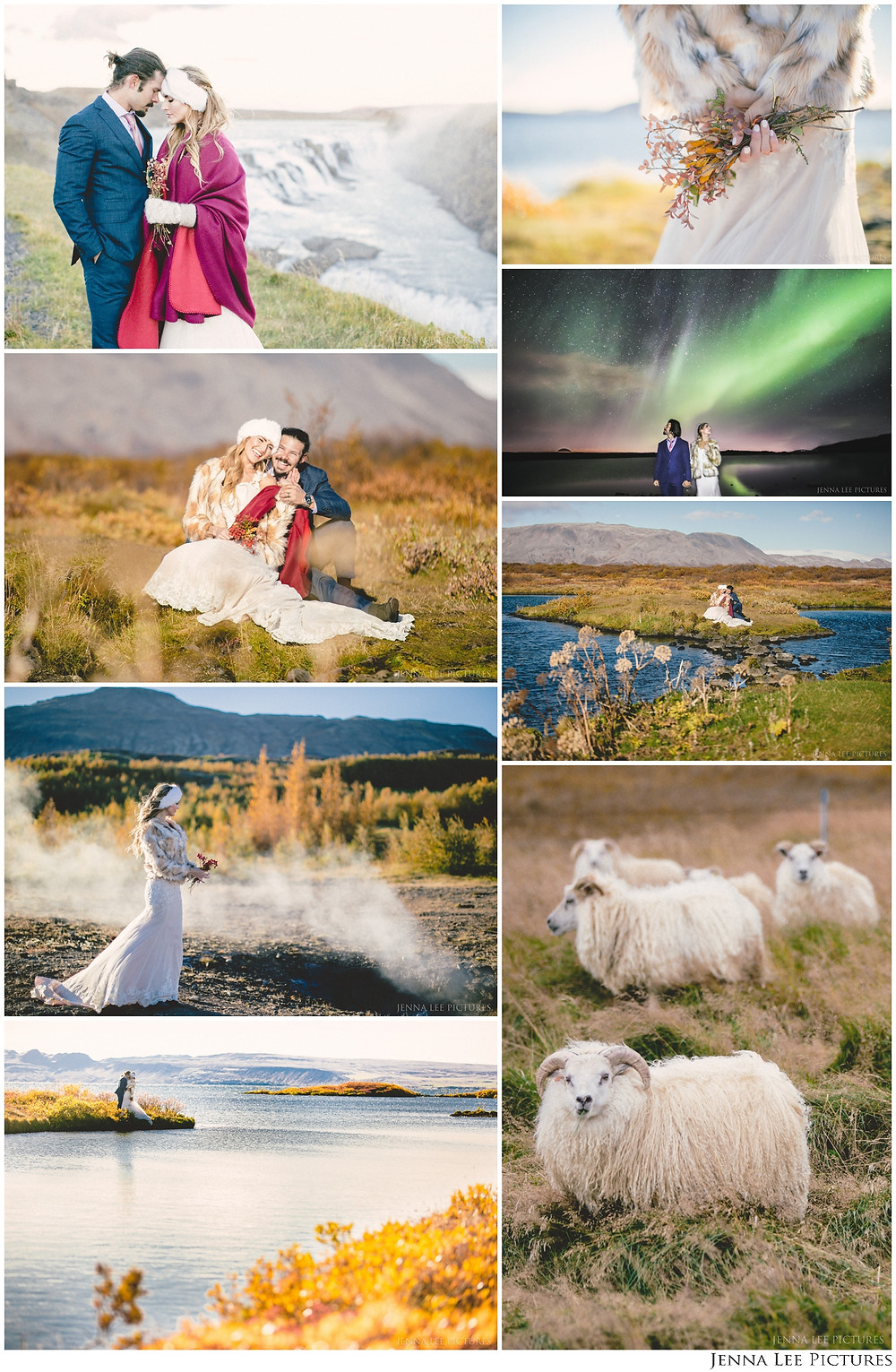 Gorgeous collage of Iceland Adventure Wedding Photography. Including Northern Lights Wedding Photos, waterfalls, icelandic sheep and more!