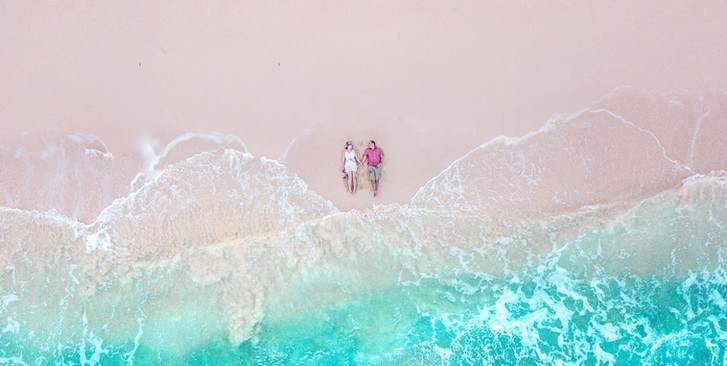 Oahu couple's drone photographer on Oahu in Waimanalo