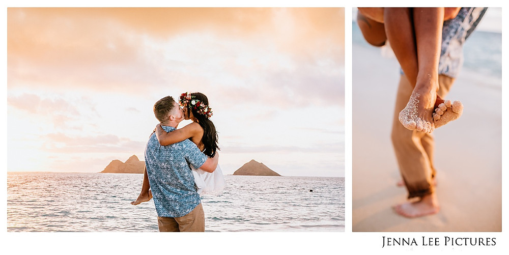 A Hawaii engagement photo of a sandy couple at sunrise on Lanikai Beach