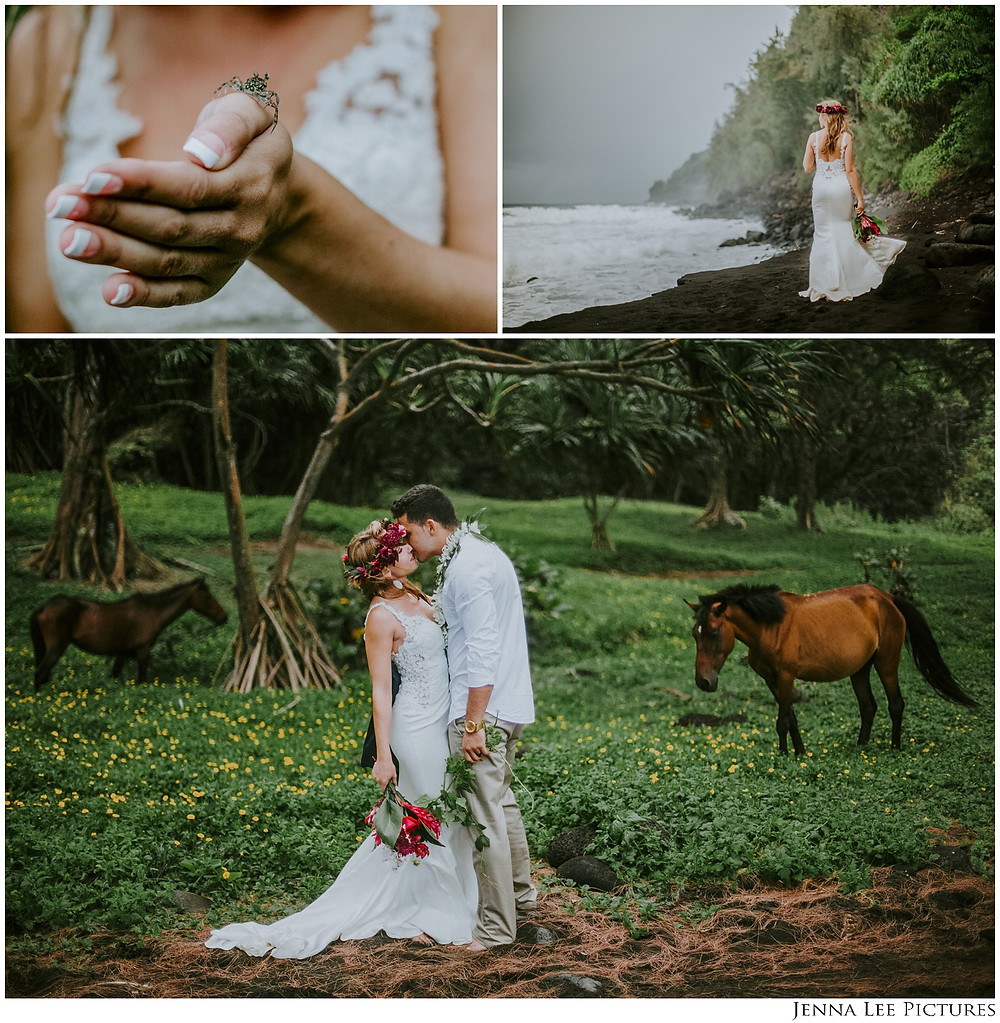 Wild Horses with a wedding couple on an adventure wedding session on a secluded black sand beach on the coast of the Big Island of Hawaii