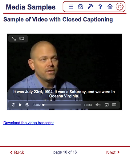 WCAG 2.0 AA compliant eLearning page showing a vide with closed captoning