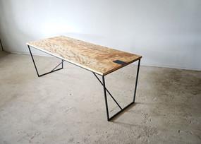 枯白 台形テーブル トチの木
