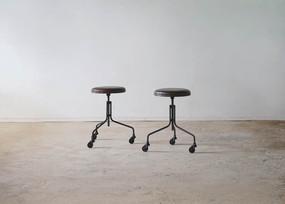 丸椅子 牛革 ダークブラウン