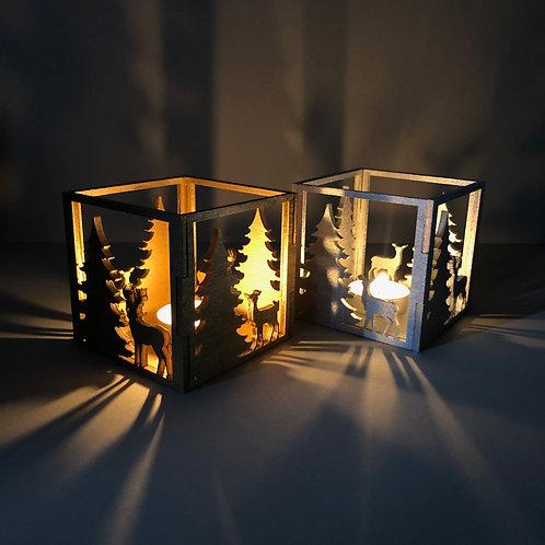Theelichthouder Kerstmisset goud en zilver.