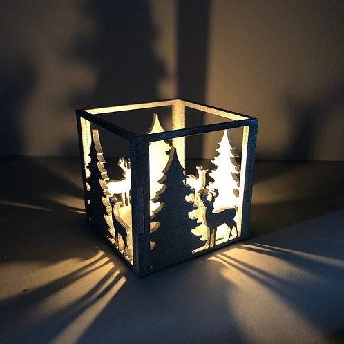 Theelichthouder Kerstmis Zilver