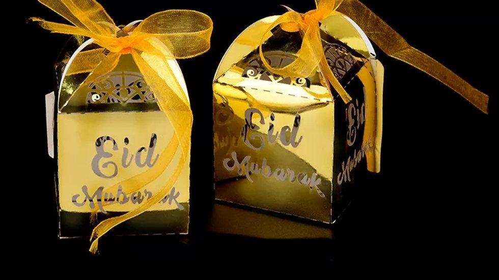 Eid Mubarak Paper Gift Box with Ribbon
