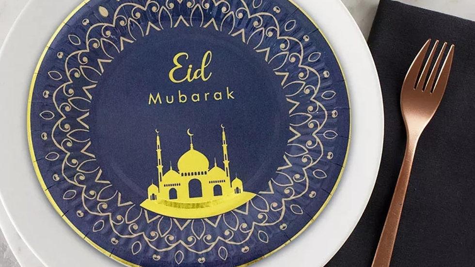 "Eid Mubarak Round 7"" eco-friendly paper plates"