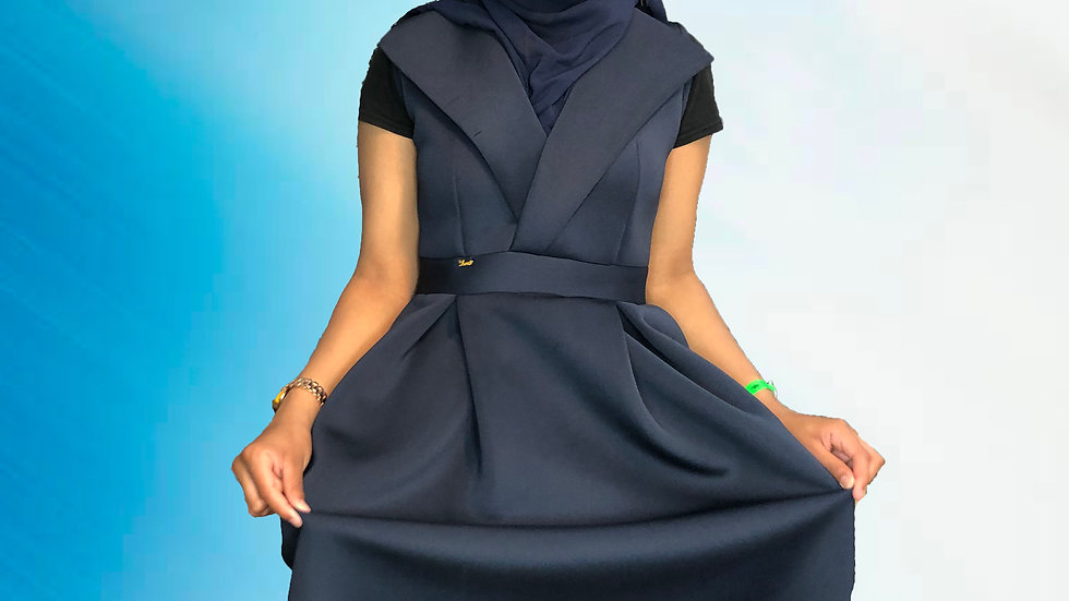 Scuba Navy blue V neck Mid dress