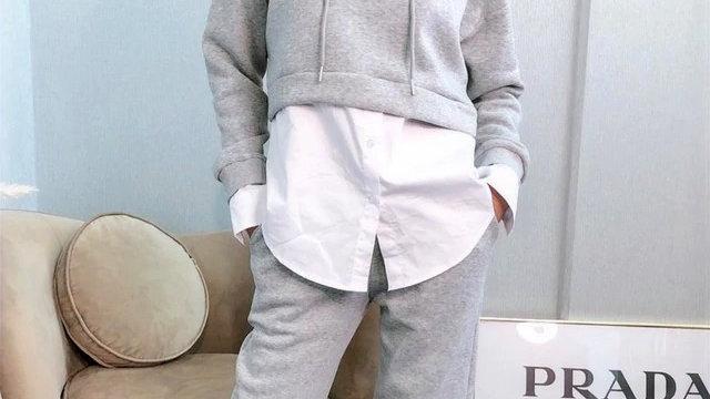 Grey Shirt Layered Hoodie Tracksuit Lounge wear