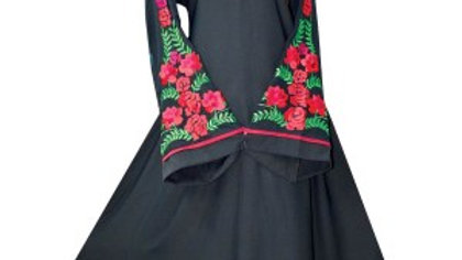 Close Abaya with flowery Embroidery