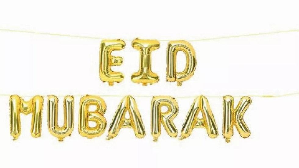 """Eid Mubarak"" Gold Foil Helium balloons"