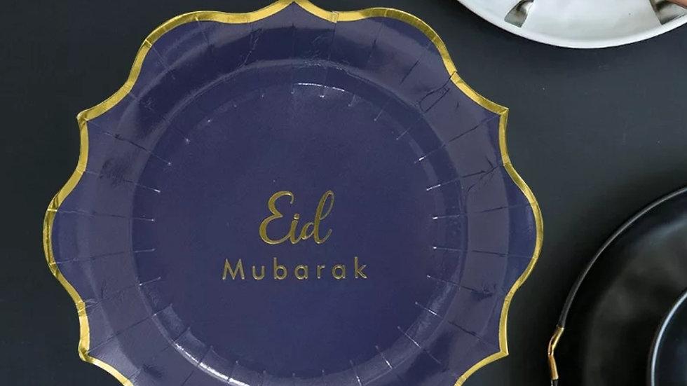 "Eid Mubarak 8 pieces 9"" paper plates"