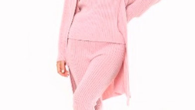 Pink 3 Piece Knitted Cardigan Lounge wear Set