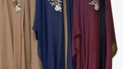 Cape Abaya with flowery Applique on Crest