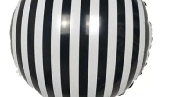Stripy Black & White 18inches Helium Balloon