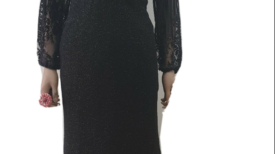 Black off shoulders dinner dress