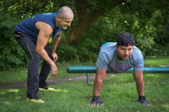 Trainnig Jimmy in the park for the spartan race