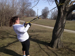 Kaydee Working on her Back Muscles In The Park