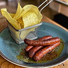 Chistorra picante de Olazagutia con patatas chips caseras