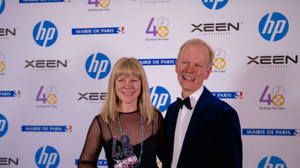 Wendy accepting her Best Film-Dallas award in Paris, France
