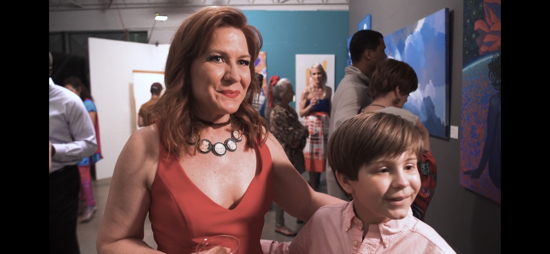 "Still from the award winning satire, ""Red Dots,"" starring Wendy Pennington"