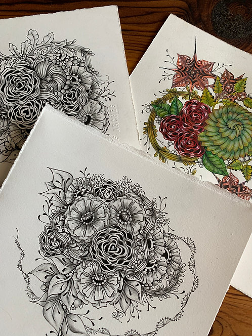 Pandemic Posies Zentangle® Zoom Session  2-Part Class