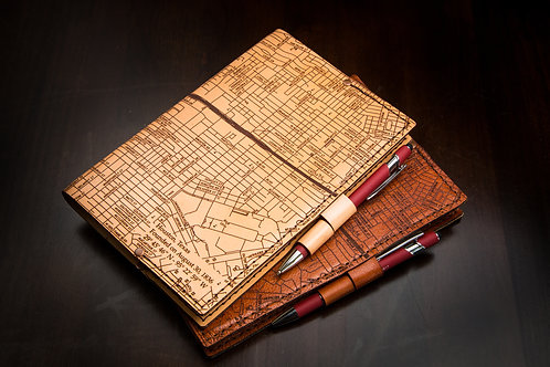 Houston Map - Small Leather Journal