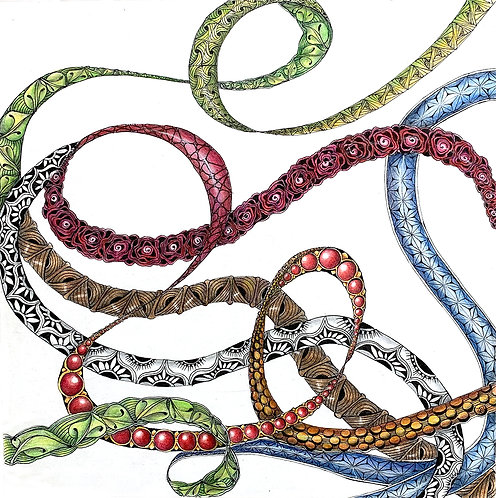 Tangled Ribbons Zentangle® Zoom Session2-Part Class