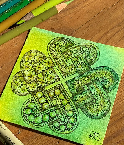 Hearts Entangled Green Zentangle® Zoom Session 2-Part Class