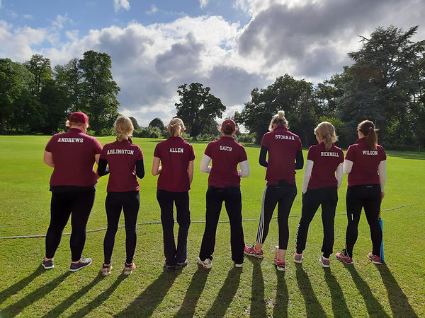 Ladies show off their new West Ilsley Cricket team topsTeam top.JPG