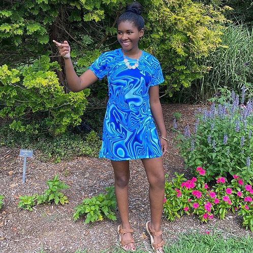 Mini Dress - Blue Flame