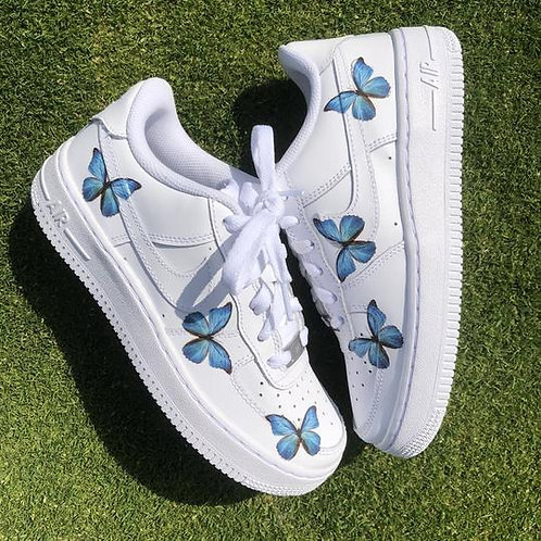 custom personalise NIKE AF1: Butterfly blue X Air Force 1