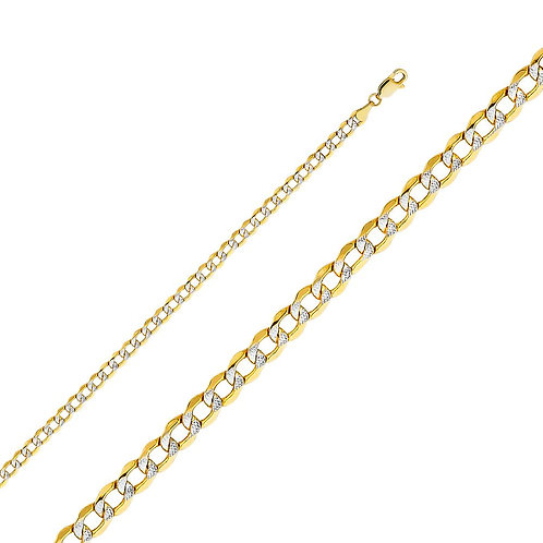 14k Two Tone Gold 4.2-mm Cuban Chain Necklace